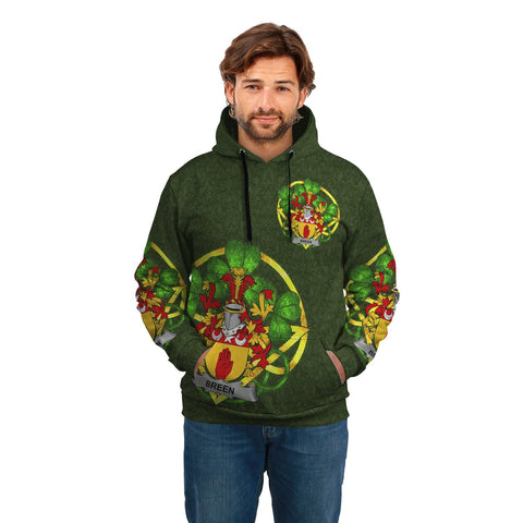 Irish Shamrock Hoodie, Breen or O'Breen Family Crest Celtic Cross Pullover Hoodie A7