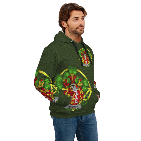 Irish Shamrock Hoodie, Brien or O'Brien Family Crest Celtic Cross Pullover Hoodie A7
