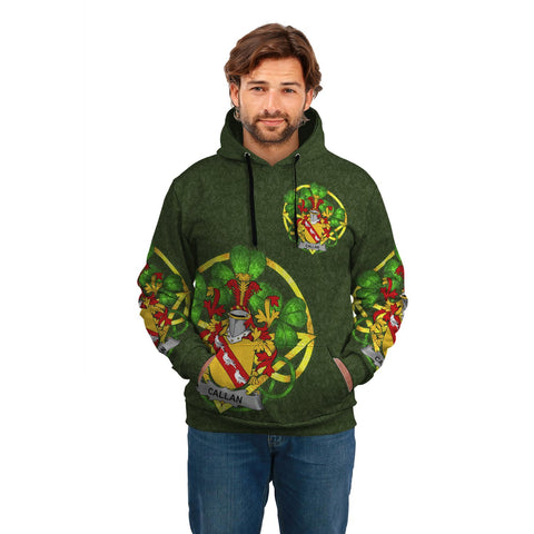 Irish Shamrock Hoodie, Callan or O'Callan Family Crest Celtic Cross Pullover Hoodie A7