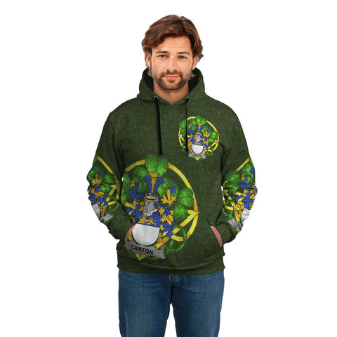 Irish Shamrock Hoodie, Canton Family Crest Celtic Cross Pullover Hoodie A7