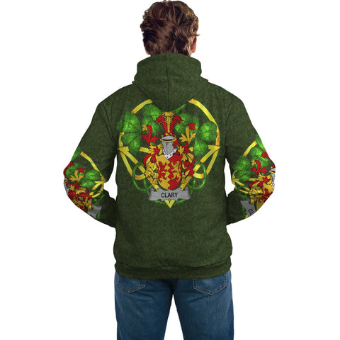 Irish Shamrock Hoodie, Clary or O'Clary. Family Crest Celtic Cross Pullover Hoodie A7