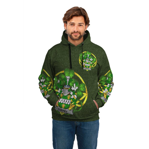 Image of Irish Shamrock Hoodie, Coffey or O'Coffey Family Crest Celtic Cross Pullover Hoodie A7