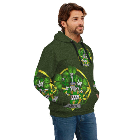 Irish Shamrock Hoodie, Coffey or O'Coffey Family Crest Celtic Cross Pullover Hoodie A7