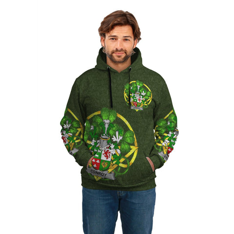 Irish Shamrock Hoodie, Conroy or O'Conry Family Crest Celtic Cross Pullover Hoodie A7