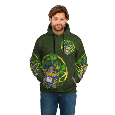 Image of Irish Shamrock Hoodie, Conroy or O'Mulconroy Family Crest Celtic Cross Pullover Hoodie A7