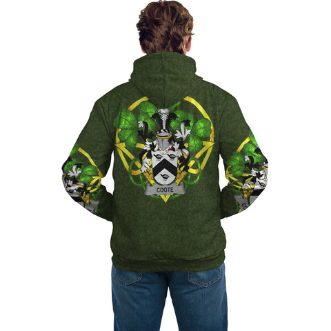 Irish Shamrock Hoodie, Coote Family Crest Celtic Cross Pullover Hoodie A7