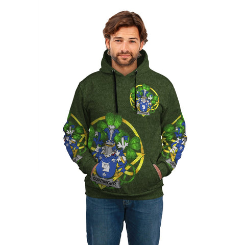 Image of Irish Shamrock Hoodie, Coppinger Family Crest Celtic Cross Pullover Hoodie A7