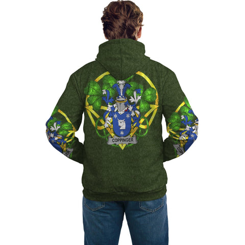 Irish Shamrock Hoodie, Coppinger Family Crest Celtic Cross Pullover Hoodie A7