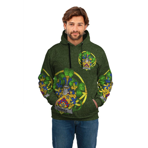 Irish Shamrock Hoodie, Cosker or McCosker Family Crest Celtic Cross Pullover Hoodie A7