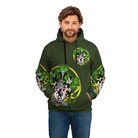 Irish Shamrock Hoodie, Crean or O'Crean Family Crest Celtic Cross Pullover Hoodie A7