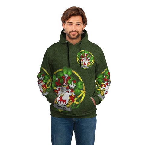 Irish Shamrock Hoodie, Cremin or O'Cremin Family Crest Celtic Cross Pullover Hoodie A7
