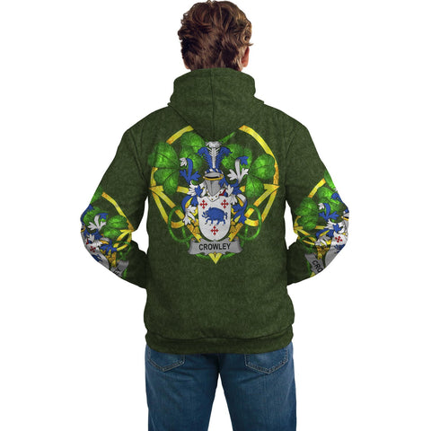 Irish Shamrock Hoodie, Crowley or O'Crouley Family Crest Celtic Cross Pullover Hoodie A7