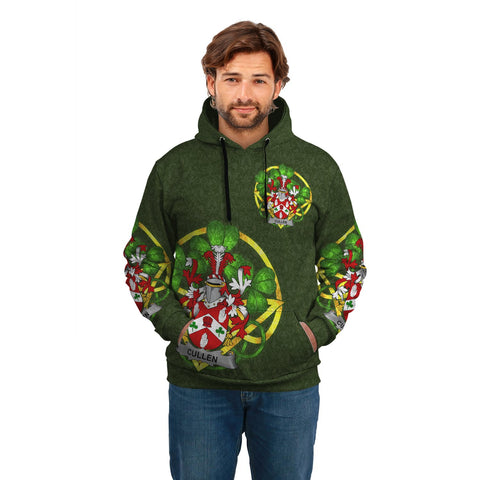 Image of Irish Shamrock Hoodie, Cullen or O'Cullen Family Crest Celtic Cross Pullover Hoodie A7