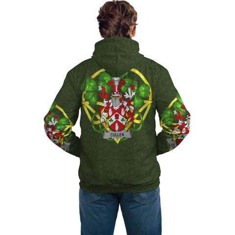 Irish Shamrock Hoodie, Cullen or O'Cullen Family Crest Celtic Cross Pullover Hoodie A7