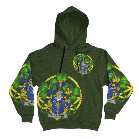 Irish Shamrock Hoodie, Culligan or McColgan Family Crest Celtic Cross Pullover Hoodie A7