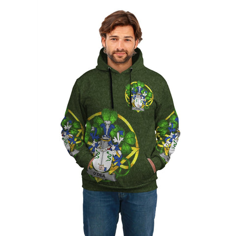 Image of Irish Shamrock Hoodie, Dea or O'Dea Family Crest Celtic Cross Pullover Hoodie A7