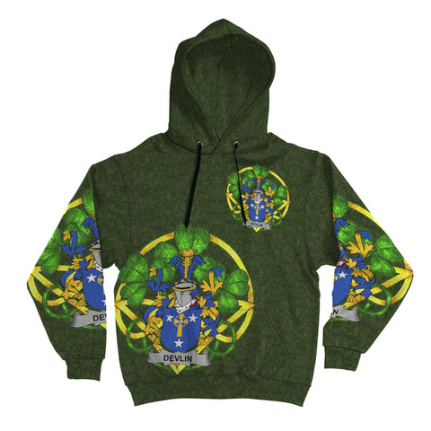 Image of Irish Shamrock Hoodie, Devlin or O'Devlin Family Crest Celtic Cross Pullover Hoodie A7