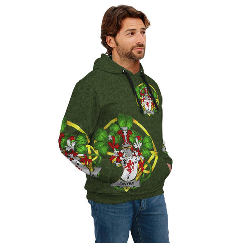Irish Shamrock Hoodie, Dwyer or O'Dwyer Family Crest Celtic Cross Pullover Hoodie A7