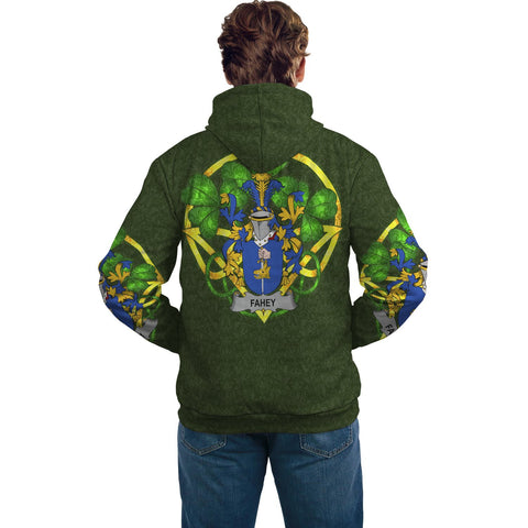 Image of Irish Shamrock Hoodie, Fahey or O'Fahy Family Crest Celtic Cross Pullover Hoodie A7