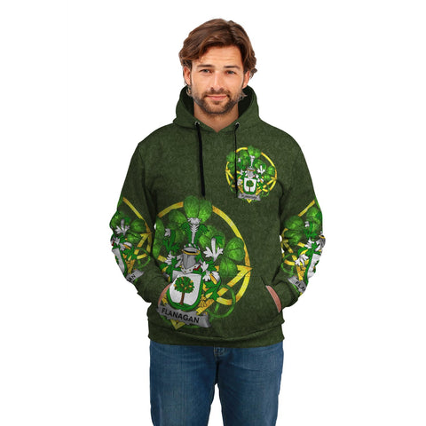 Image of Irish Shamrock Hoodie, Flanagan or O'Flanagan Family Crest Celtic Cross Pullover Hoodie A7
