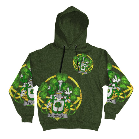 Irish Shamrock Hoodie, Flanagan or O'Flanagan Family Crest Celtic Cross Pullover Hoodie A7