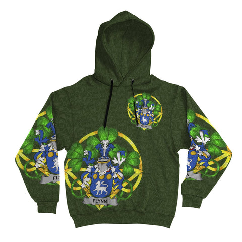 Image of Irish Shamrock Hoodie, Flynn or O'Flynn Family Crest Celtic Cross Pullover Hoodie A7