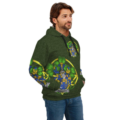 Irish Shamrock Hoodie, Fogarty or O'Fogarty Family Crest Celtic Cross Pullover Hoodie A7