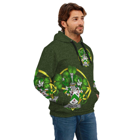 Image of Irish Shamrock Hoodie, Foster Family Crest Celtic Cross Pullover Hoodie A7