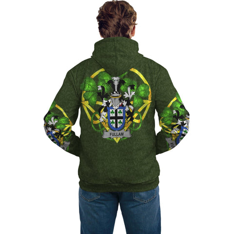 Image of Irish Shamrock Hoodie, Fullam Family Crest Celtic Cross Pullover Hoodie A7