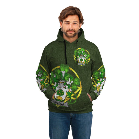 Irish Shamrock Hoodie, Furlong Family Crest Celtic Cross Pullover Hoodie A7