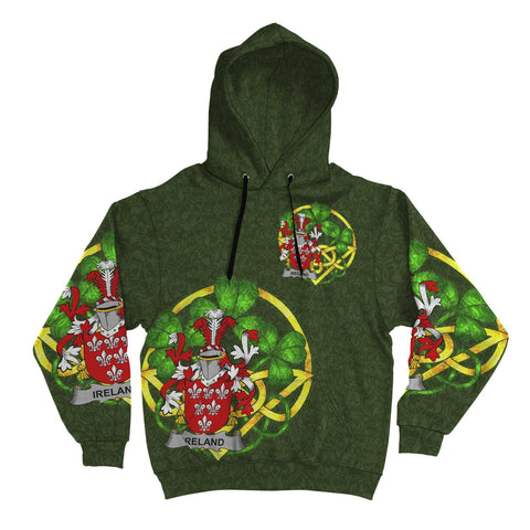 Image of Irish Shamrock Hoodie, Ireland Family Crest Celtic Cross Pullover Hoodie A7