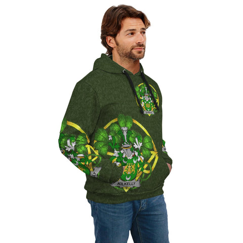 Irish Shamrock Hoodie, Kilkelly or Killikelly Family Crest Celtic Cross Pullover Hoodie A7