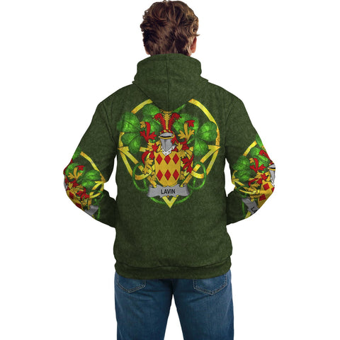 Irish Shamrock Hoodie, Lavin or O'Lavin Family Crest Celtic Cross Pullover Hoodie A7