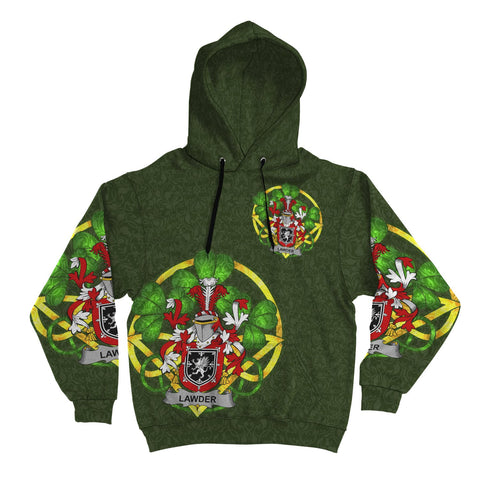 Irish Shamrock Hoodie, Lawder or Lauder Family Crest Celtic Cross Pullover Hoodie A7