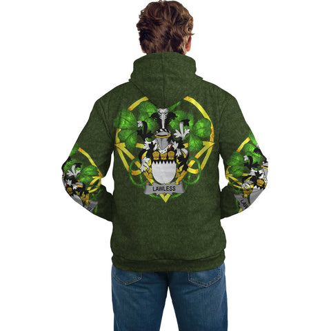 Irish Shamrock Hoodie, Lawless Family Crest Celtic Cross Pullover Hoodie A7
