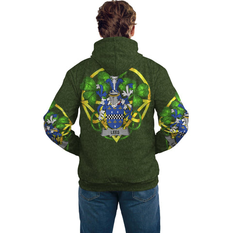 Image of Irish Shamrock Hoodie, Lees or McAleese Family Crest Celtic Cross Pullover Hoodie A7