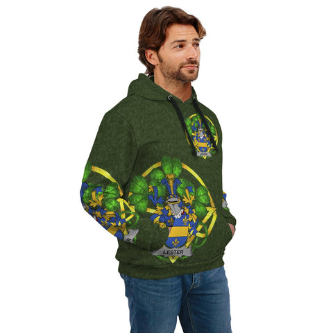 Irish Shamrock Hoodie, Lester or McAlester Family Crest Celtic Cross Pullover Hoodie A7