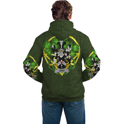 Image of Irish Shamrock Hoodie, Lewis Family Crest Celtic Cross Pullover Hoodie A7