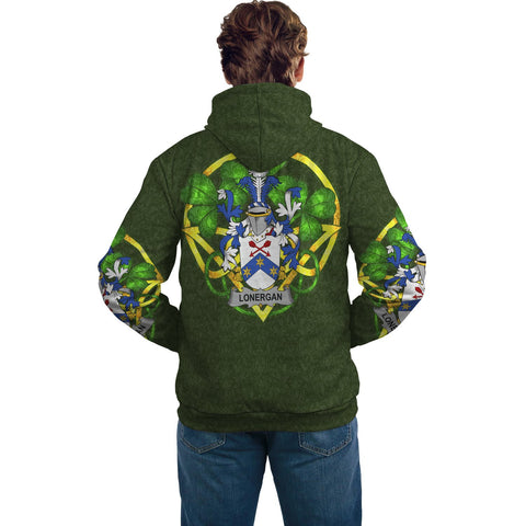 Irish Shamrock Hoodie, Lonergan or O'Lonergan Family Crest Celtic Cross Pullover Hoodie A7
