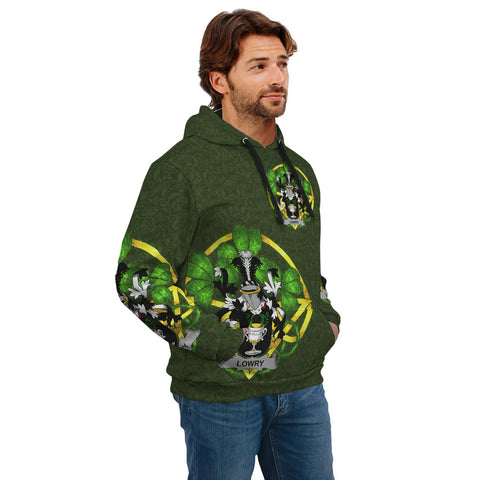 Image of Irish Shamrock Hoodie, Lowry or Lavery Family Crest Celtic Cross Pullover Hoodie A7