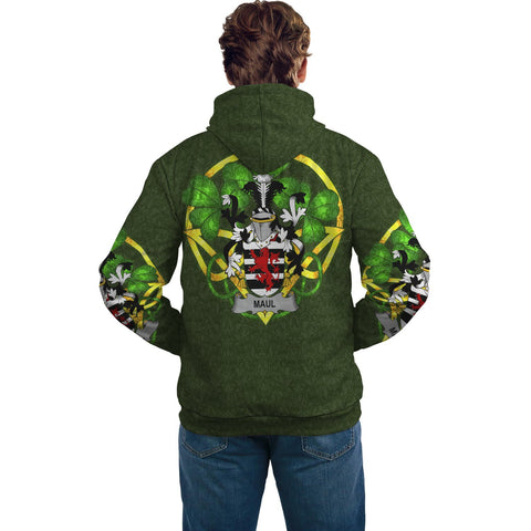 Irish Shamrock Hoodie, Maul or Maule Family Crest Celtic Cross Pullover Hoodie A7