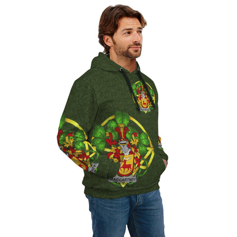 Irish Shamrock Hoodie, McCartney or MacCartney Family Crest Celtic Cross Pullover Hoodie A7