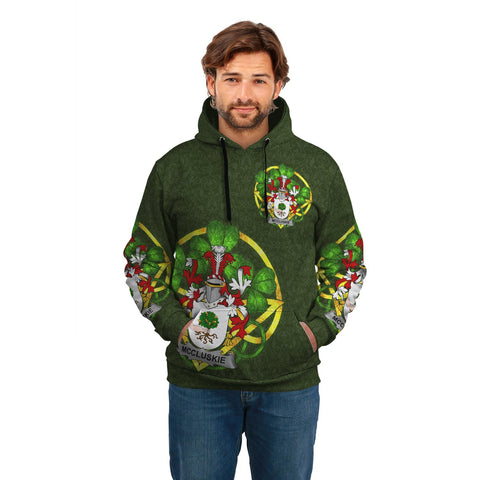 Irish Shamrock Hoodie, McCluskie or McCloskie Family Crest Celtic Cross Pullover Hoodie A7