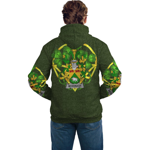 Irish Shamrock Hoodie, McDonagh or McDonogh Family Crest Celtic Cross Pullover Hoodie A7