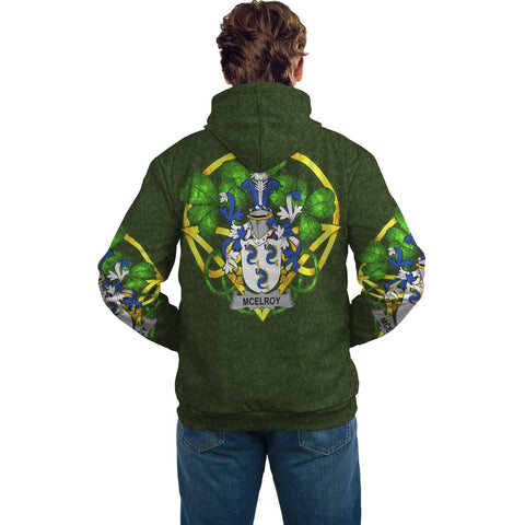 Image of Irish Shamrock Hoodie, McElroy or Gilroy Family Crest Celtic Cross Pullover Hoodie A7