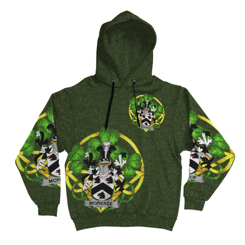 Irish Shamrock Hoodie, McPierce or Pierce Family Crest Celtic Cross Pullover Hoodie A7