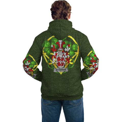 Irish Shamrock Hoodie, McTiernan or Kiernan Family Crest Celtic Cross Pullover Hoodie A7