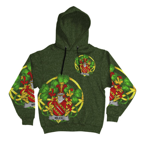 Irish Shamrock Hoodie, Miles or Moyles Family Crest Celtic Cross Pullover Hoodie A7