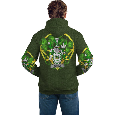Irish Shamrock Hoodie, Mooney or O'Mooney Family Crest Celtic Cross Pullover Hoodie A7