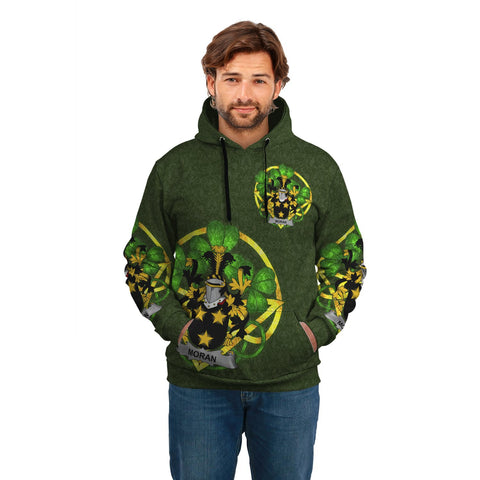 Image of Irish Shamrock Hoodie, Moran or O'Moran Family Crest Celtic Cross Pullover Hoodie A7